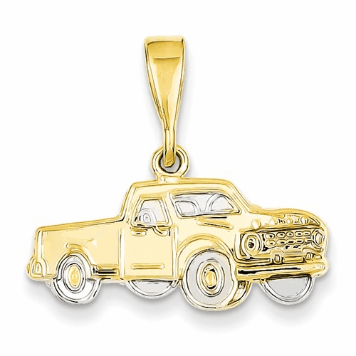 14k & Rhodium Pick-up Truck Pendant Cg28