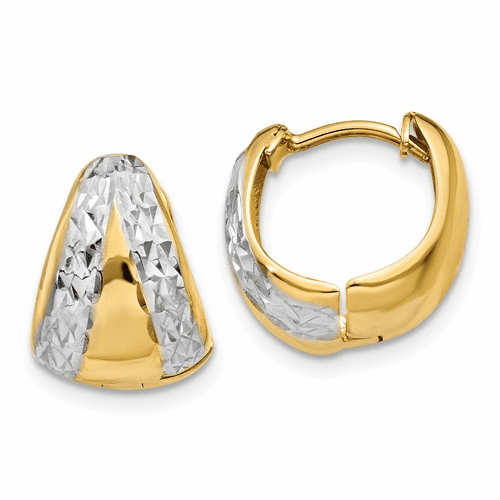 14k & Rhodium Polished And Textured Hoop Earrings Tl558