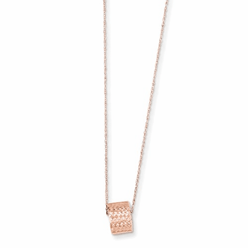 14k Rose Gold 8.5mm Diamond Cut Bead W/ 2in Ext Necklace Sf2063-16