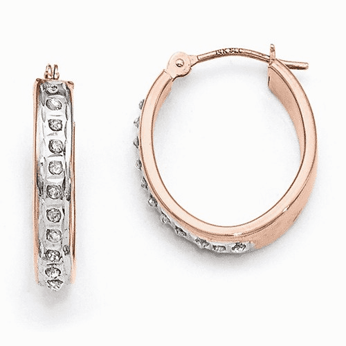 14k Rose Gold Diamond Fascination Oval Hinged Hoop Earrings Df276