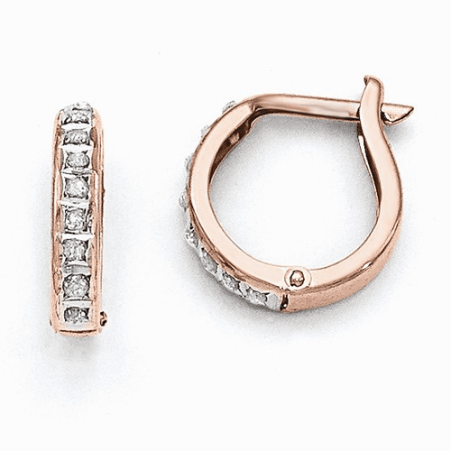 14k Rose Gold Diamond Fascination Round Hinged Hoop Earrings Df271