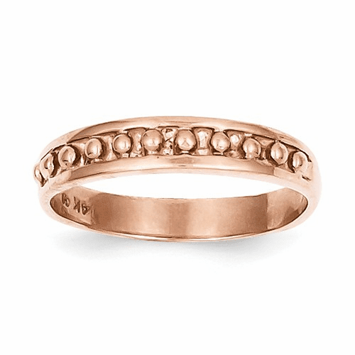 14k Rose Gold Polished Beaded Band K592