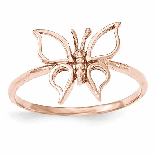 14k Rose Gold Polished Butterfly Ring K5774