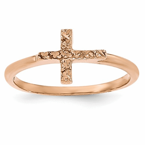 14k Rose Gold Polished & D/c Cross Ring K5723