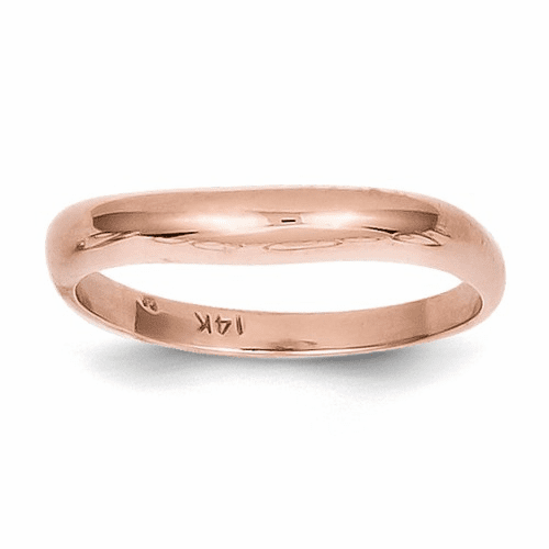14k Rose Gold Polished Stackable Wave Ring K589
