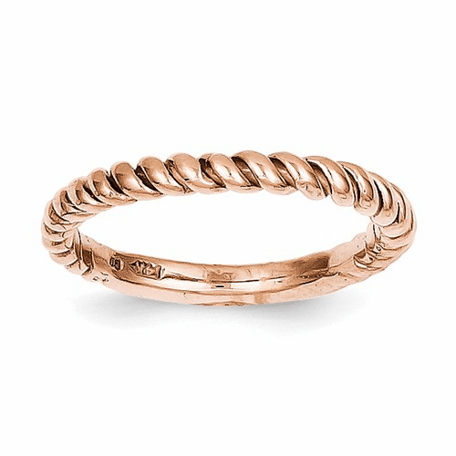 14k Rose Gold Polished Twisted Band D907