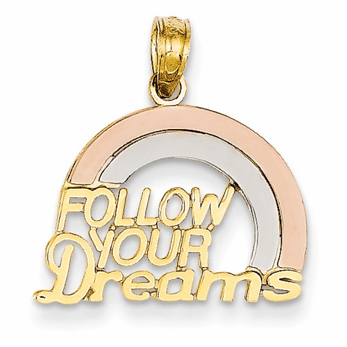14k Rose Gold W/rhodium Follow Your Dreams Rainbow Pendant