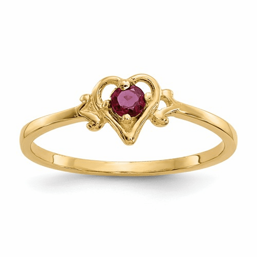 14k Ruby Birthstone Heart Ring Yc430