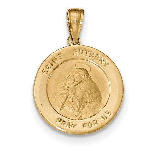 14k Saint Anthony Small Round Medal Pendant K5826