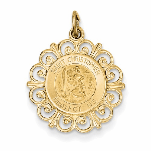 14k Saint Christopher Medal Charm Xr381