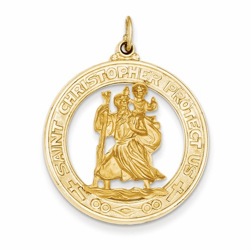 14k Saint Christopher Medal Pendant Xr382