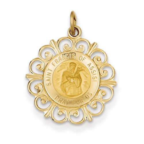 14k Saint Francis Of Assisi Medal Pendant Xr392