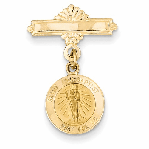14k Saint John The Baptist Medal Pin Xr754