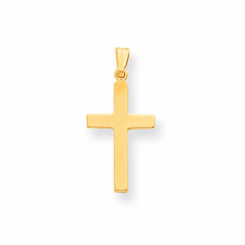14k Satin Cross Pendant Xr100