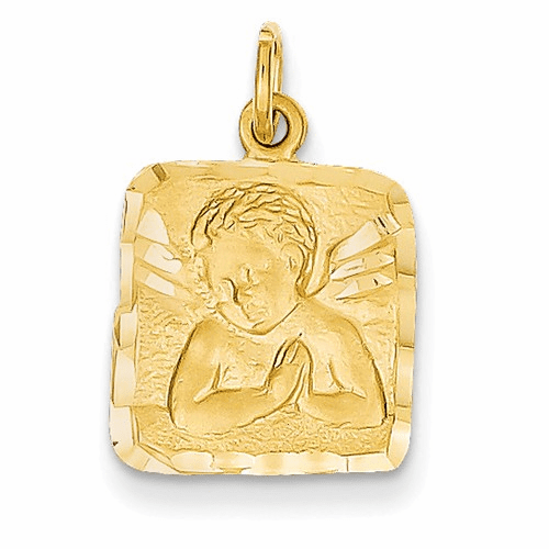 14k Satin & Diamond -cut Angel Charm C346