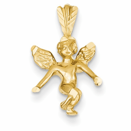 14k Satin & Diamond-cut Angel Charm M246