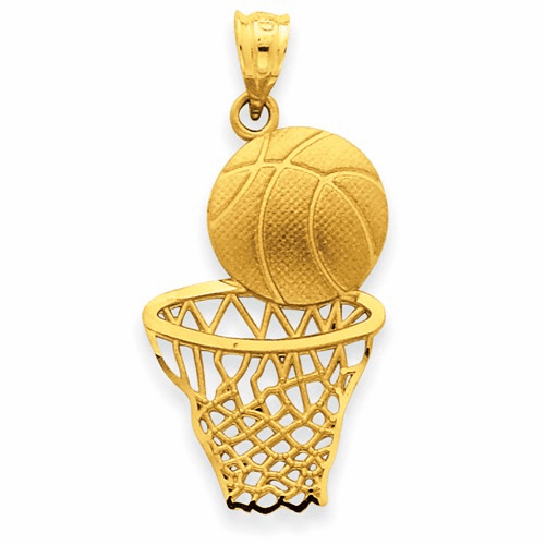 14k Satin Diamond-cut Basketball & Net Pendant C2672