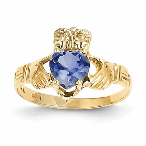 14k September Birthstone Claddagh Ring R495