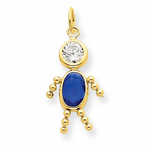 14k September Boy Birthstone Charm Xck173
