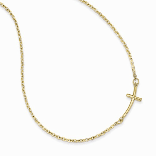 14k Small Sideways Curved Cross Necklace Sf2080-19
