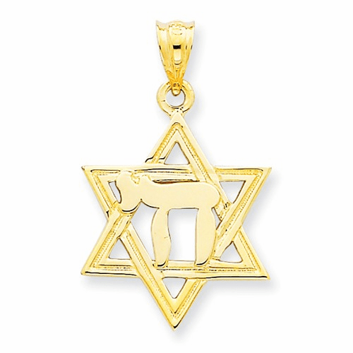 14k Solid Polish Chai In Star Of David Charm D893