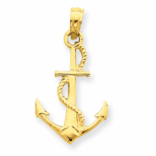 14k Solid Polished 3-dimensional Anchor Pendant D1360