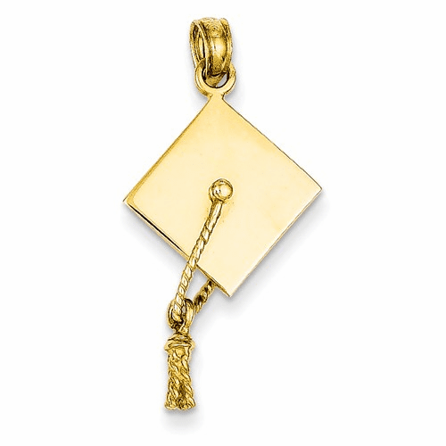 14k Solid Polished 3-dimensional Graduation Cap Pendant C2229