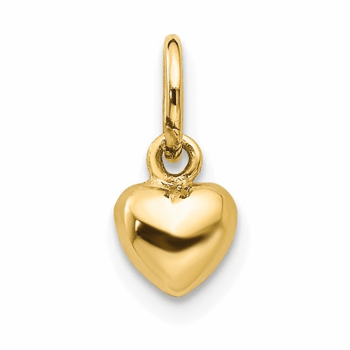 14k Solid Polished 3-dimensional Small Heart Charm K793