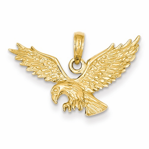14k Solid Polished Eagle Pendant C2440