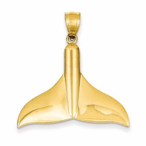 14k Solid Polished Large Whale Tail Pendant C2606