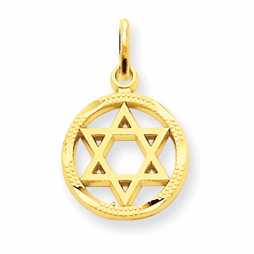 14k Solid Polished Star Of David Charm C823