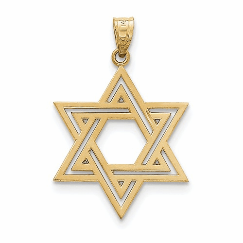 14k Solid Polished  Star Of David Charm M1595