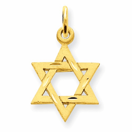 14k Solid Satin Star Of David Charm D38