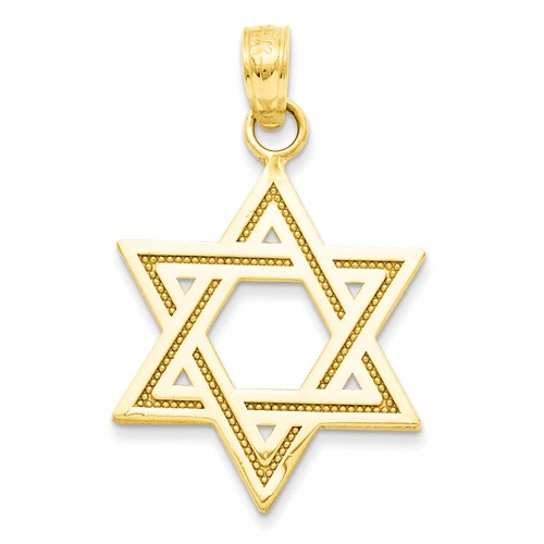 14k Solid Satin Star Of David Charm M1594