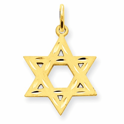 14k Solid Satin Star Of David Charm Xr445