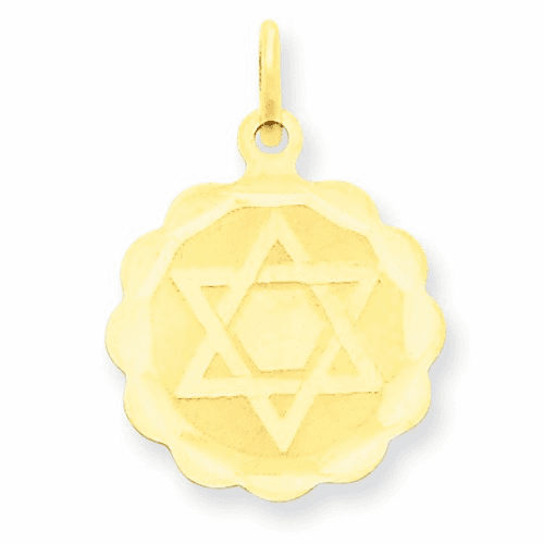14k Solid Star Of David Disc Charm Xr416