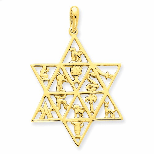14k Star Of David 12 Tribes Pendant D894