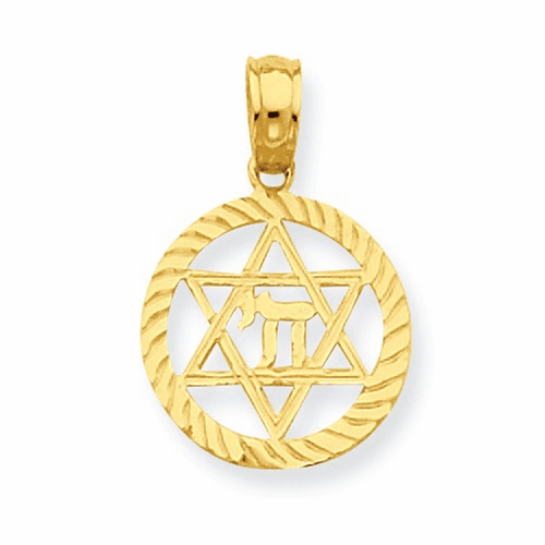14k Star Of David And Chi In Circle Pendant C4459