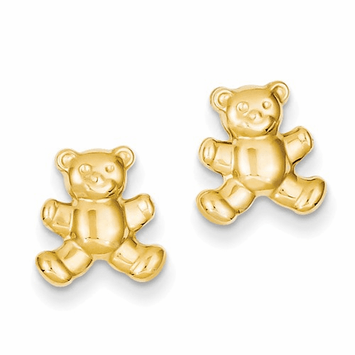 14k Teddy Bear Post Earrings Ye1648