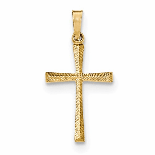 14k Textured And Polished Latin Cross Pendant Xr1438