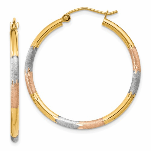 14k Tri-Color Hoop Earrings