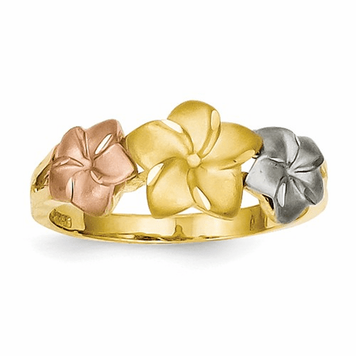14k Tri-color Plumeria Ring D1888