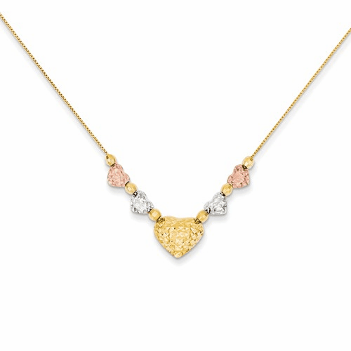 14k Tri-color Puff & Flat Hearts Necklace Sf1878-18