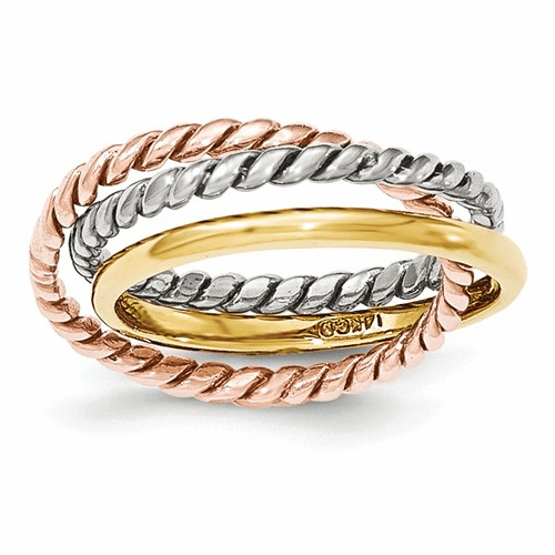 14k Tri-color Rope Polished 3-band Interlocking Ring K5787