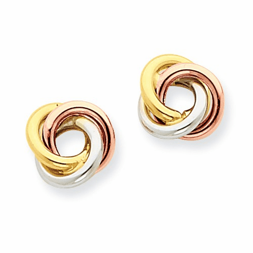 14k Tri-color Twisted Knot Post Earrings Z1239