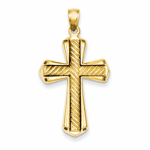 14k Twisted Cross Pendant D1636
