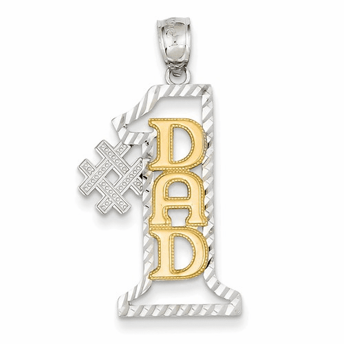 14k Two-tone #1 Dad D/c Pendant K2684