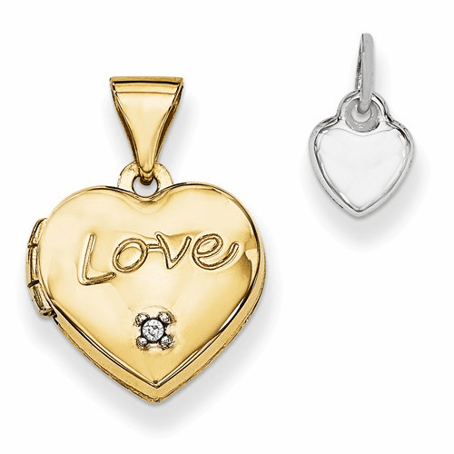 14k Two-tone 12mm Heart With Diamond Locket And Heart Charm Xl635