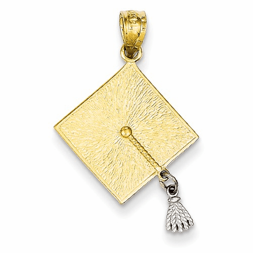 14k Two-tone 3-d Graduation Cap W/moveable Tassel Pendant C4019