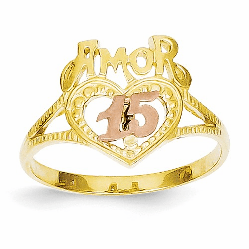 14k Two-tone Amor 15 Heart Ring R99